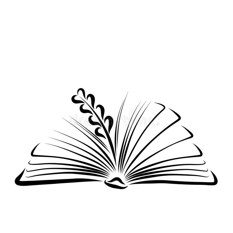 Weizenähren auf den Seiten eines offenen Buches lizenzfreie abbildung