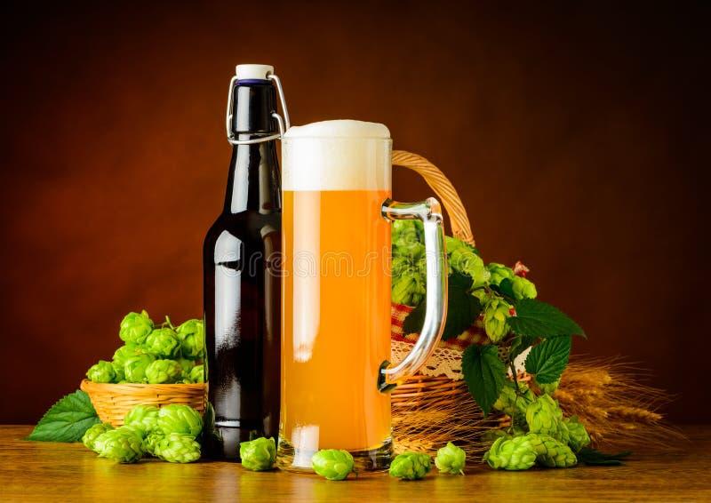 Weizen-Bier und Hopfenblume lizenzfreie stockbilder