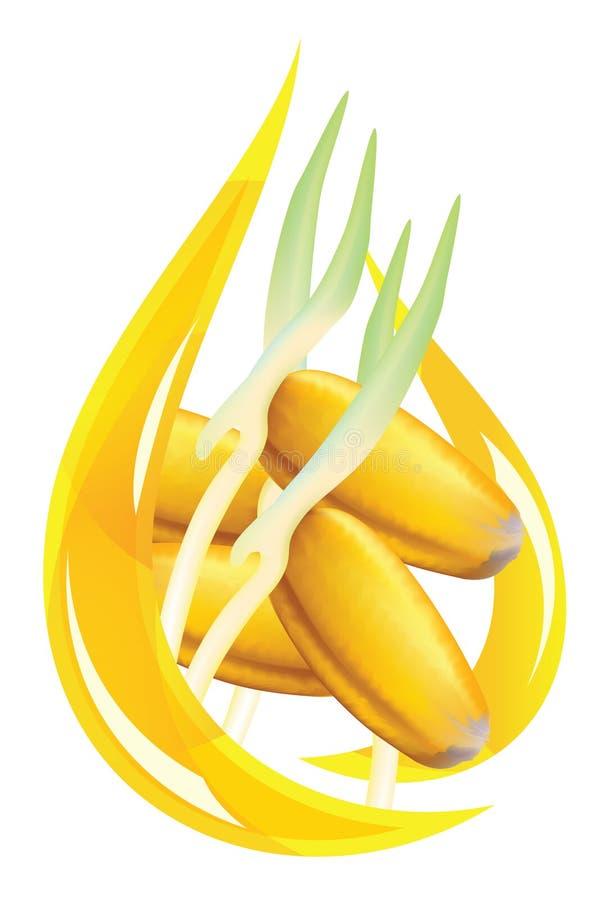 Weizenmikrobeschmieröl. Stilisiert Tropfen. vektor abbildung
