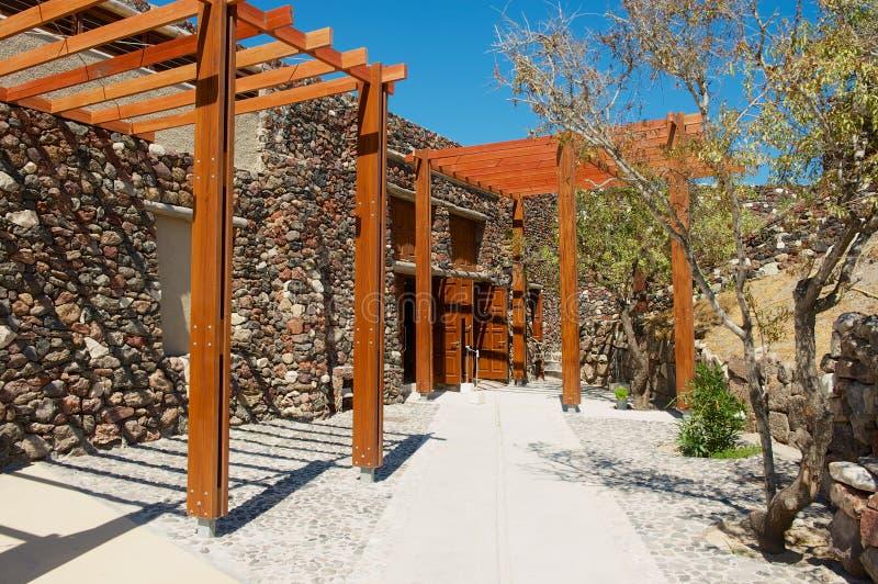 Wejście Akrotiri archeologiczny miejsce w Akrotiri, Grecja obrazy royalty free