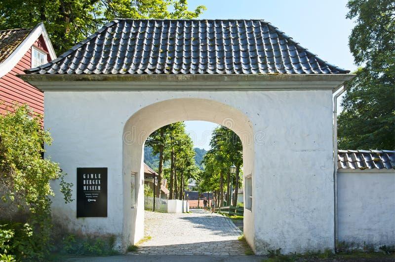 Wejście Gamle Bergen muzeum - Stary Bergen muzeum obrazy royalty free