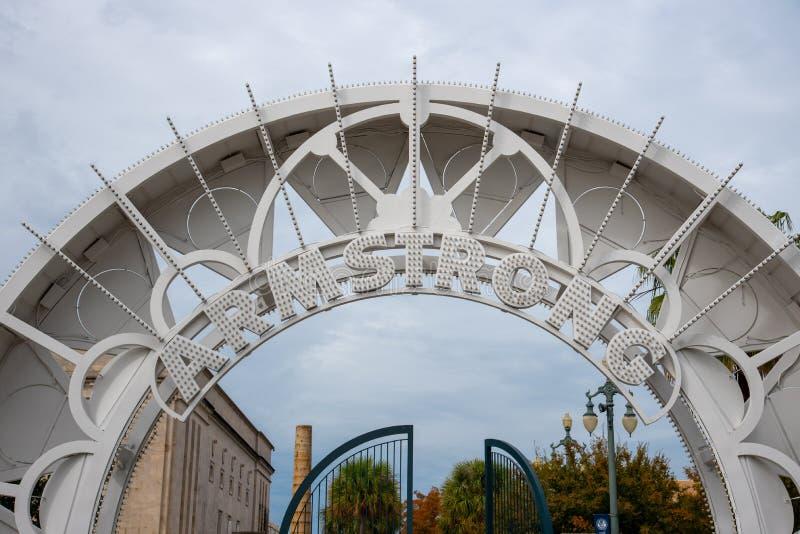 Wejściowy ot Armstrong park w NOLA fotografia royalty free