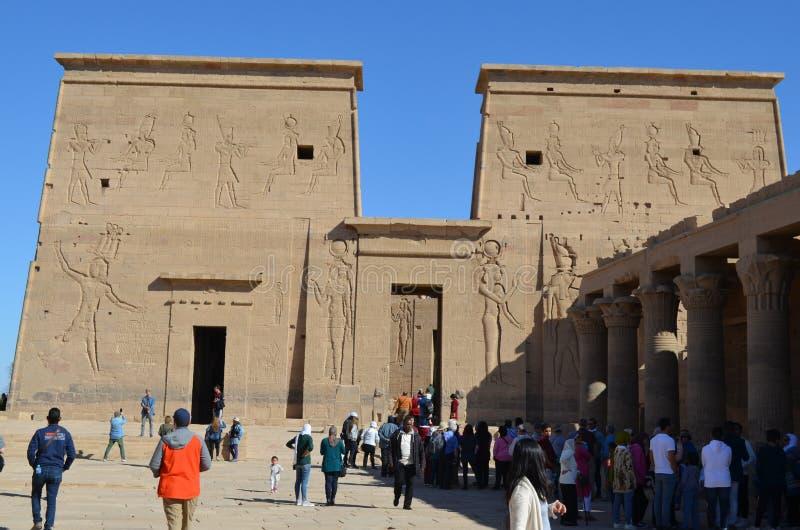 Wejścia, ściana i kolumny świątynia Philae, Antyczny Egipt obraz stock