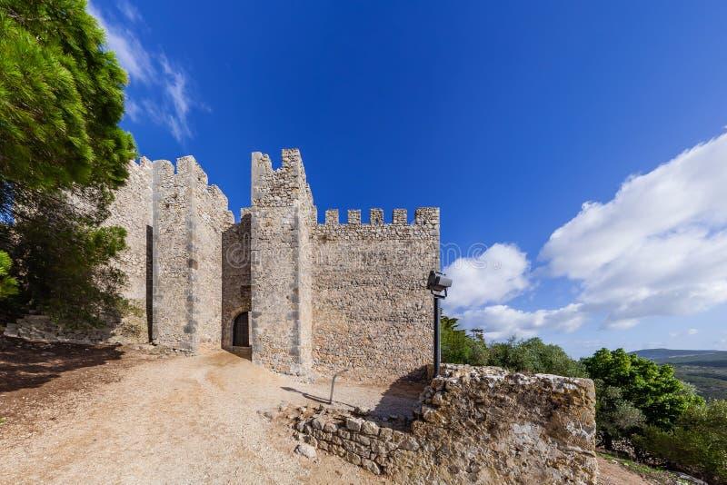 Wejście średniowieczny Sesimbra kasztel zdjęcia royalty free