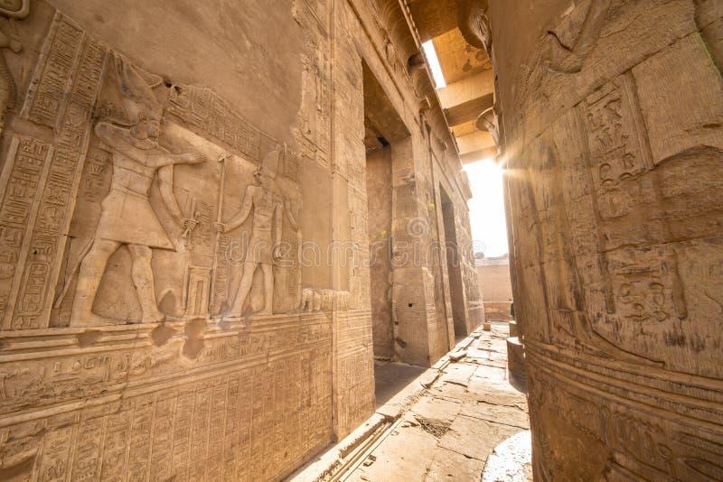 Wejście świątynia Kom Ombo budował antyczną Egipską cywilizacją blisko Thebes Luxor i Aswan obrazy stock