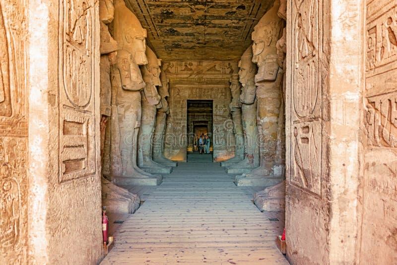 Wejście świątynia królewiątko Ramses II w Abu Simbel w Egipt zdjęcia royalty free