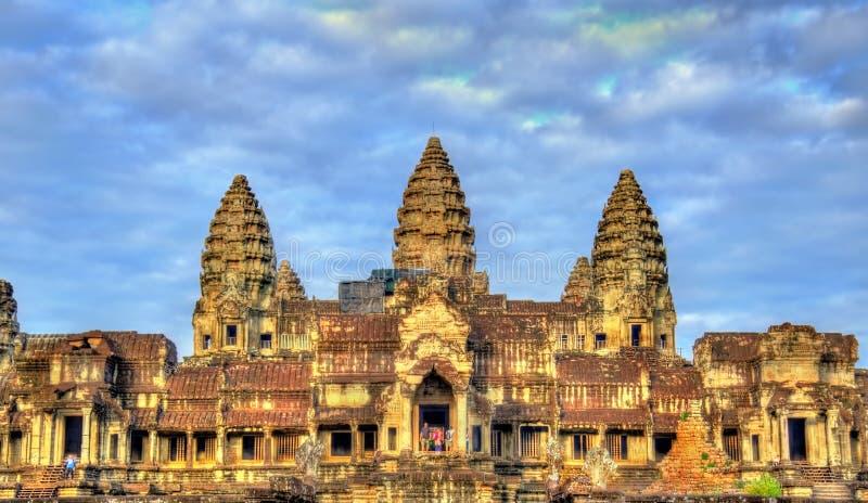 Wejście Angkor Wat świątynia - Siem przeprowadza żniwa, Kambodża zdjęcie stock