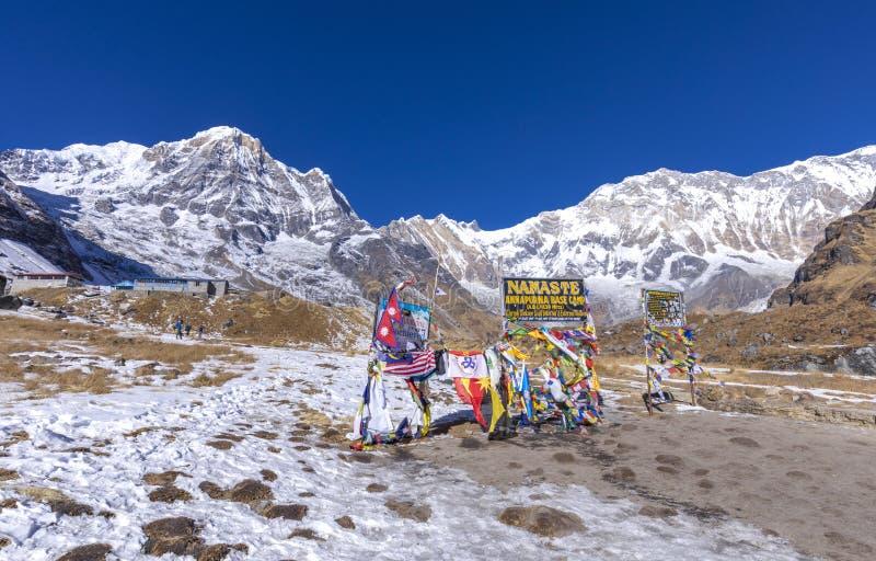 Wej?cie Annapurna podstawowy ob?z obraz royalty free