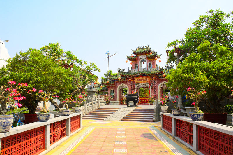 Wejście Chiński świątynny Quan Cong, Hoi, Wietnam obrazy royalty free