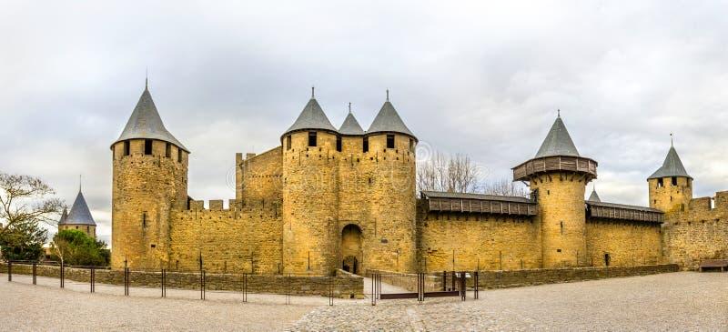 Wejście cytujący de Carcassonne, średniowieczna cytadela obrazy stock