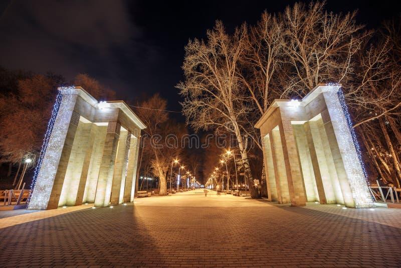 Wejście dynamo park w Voronezh mieście, Rosja w zima czasie, miejscu publicznym dla odpoczynku i odprowadzeniu, zdjęcia royalty free