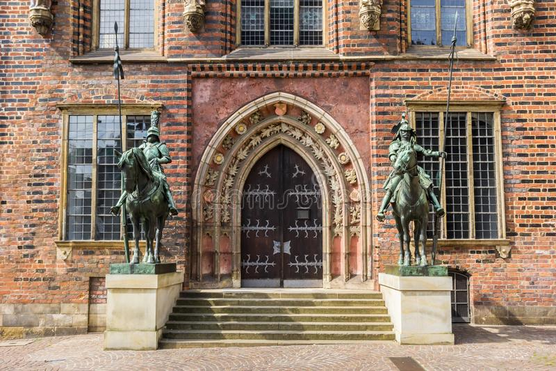 Wejście dziejowy urząd miasta Bremen obraz stock