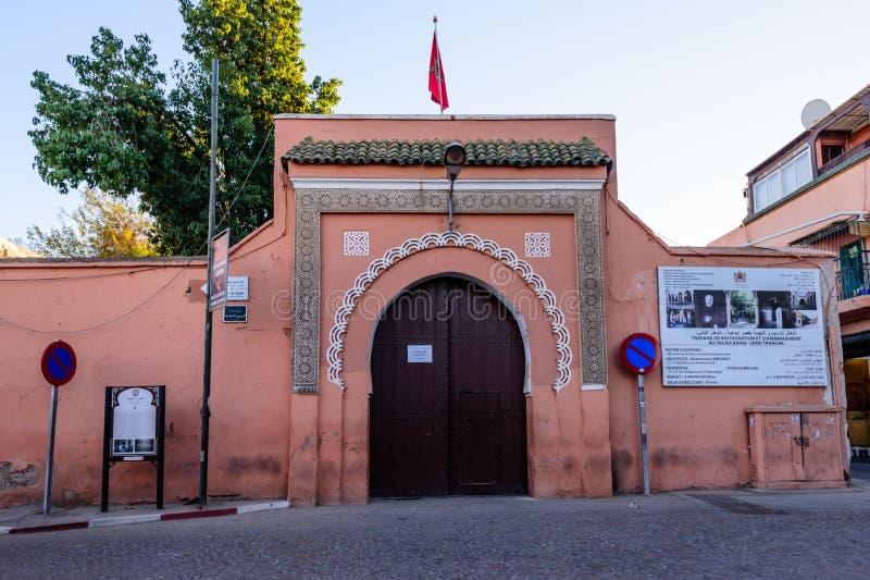 Wejście El Bahia pałac w Marrakech starym miasteczku obraz stock