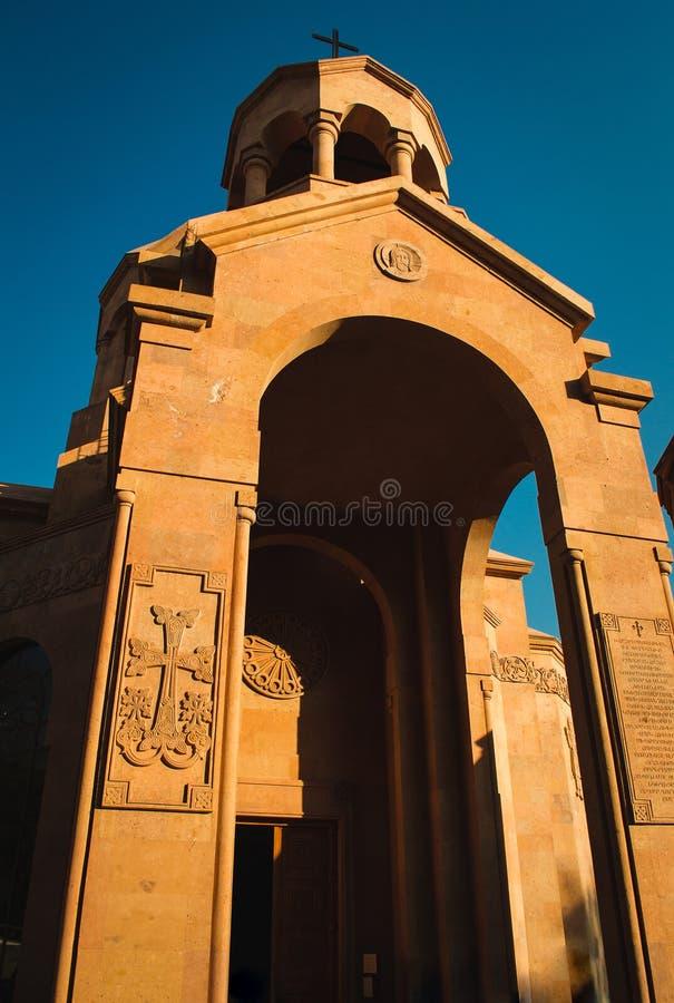 Wejście kościół Armeńska architektura Yerevan centrum miasta, Armenia Religijny Tło samochodowej miasta pojęcia Dublin mapy mała  zdjęcia royalty free