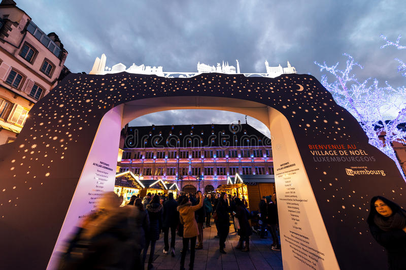 Wejście Luksemburg stojaka wystawa podczas bożych narodzeń Mark zdjęcia royalty free