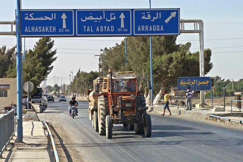 Wejście nad mostem Raqqa w Syrii obraz stock