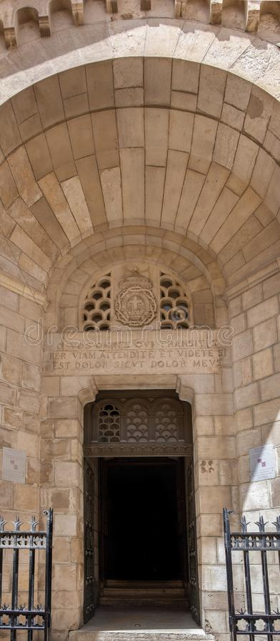 Wejście Notre Damae De Sion klasztor Ecce Homo, Jerozolima, Izrael obraz royalty free