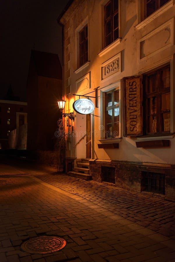 Wejście pamiątkarski sklep w starym miasteczku Ryski fotografia royalty free