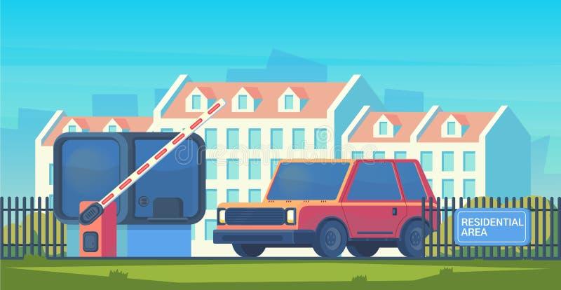Wejście przez bariery która podnosi przechodzić samochód Opłaty drogowa brama z recepcyjny budka Punkt kontrolny mieszkaniowy royalty ilustracja