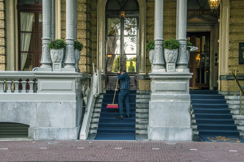 Wejście Przy Amstel hotelem Przy Amsterdam holandie 2018 obrazy stock