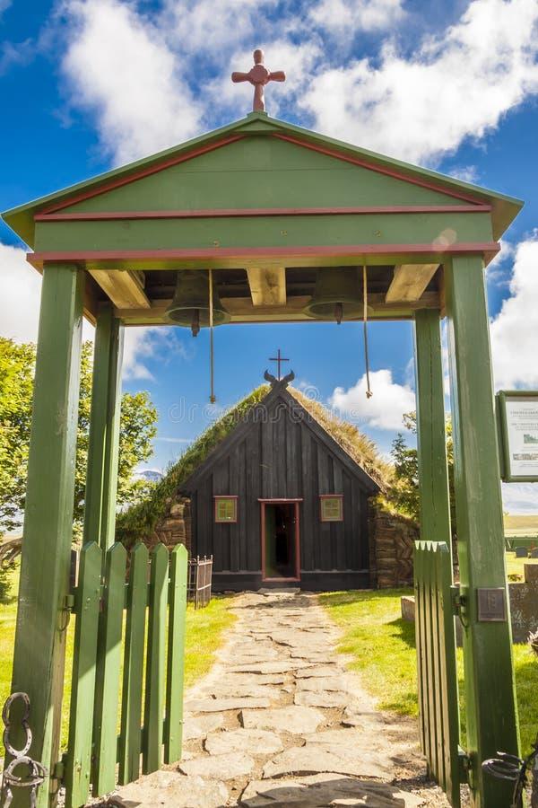 Wejście Vidimyri kościół - Iceland. zdjęcia royalty free
