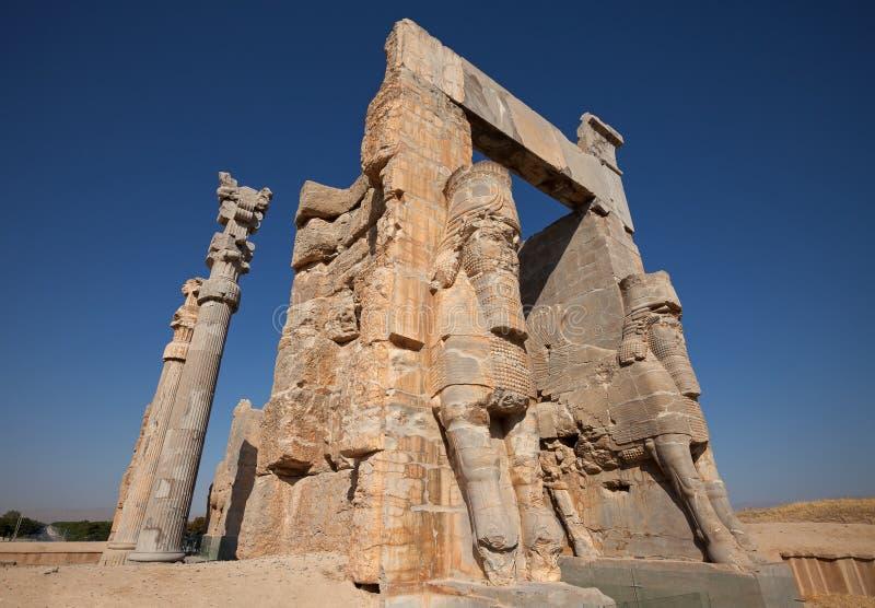 Wejściowa brama Wszystkie narody od ruin Persepolis w Shiraz obrazy stock