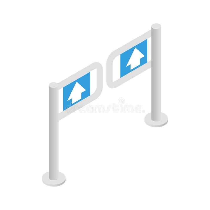 Wejściowa bramy ikona, isometric 3d styl royalty ilustracja