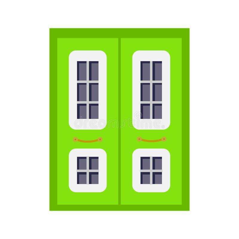 Wejściowego drzwi frontowy widok stwarza ognisko domowe i budynku wektorowy element w kreskówka stylu ilustracja wektor