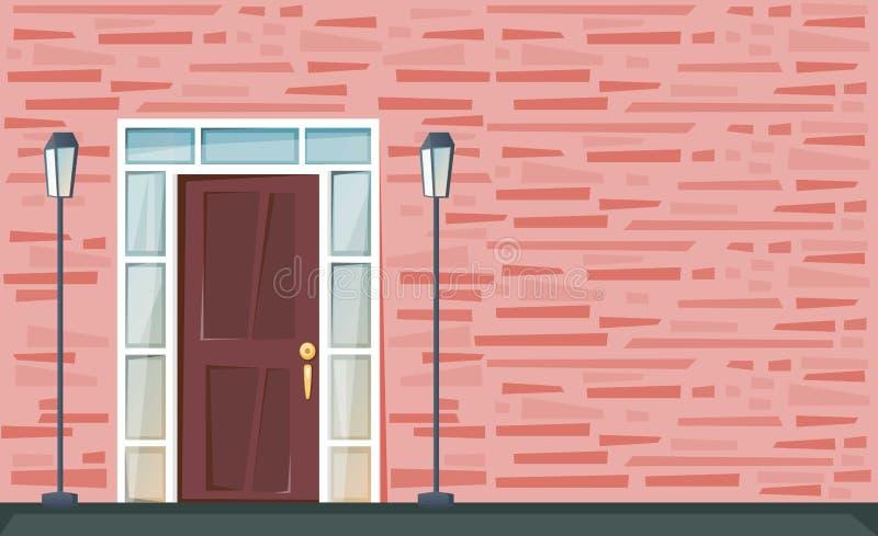 Wejściowy drzwi na czerwonej ścianie z cegieł z lampionami jabłczaka jaskrawy gąsienicowy ilustracyjny wektor royalty ilustracja