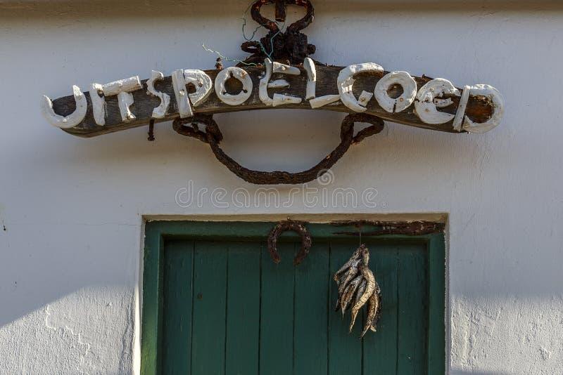 Wejściowy drzwi przy Strandveld muzeum - Franskraal zdjęcia stock