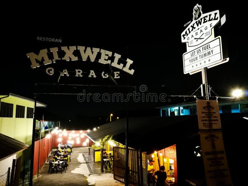 Wejściowy signboard przy Mixwell garażu restauracją, Sungai Tangkas, Kajang fotografia royalty free