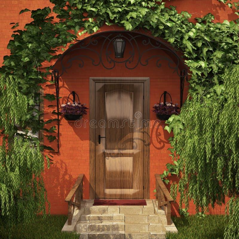 wejściowy zielony dom ilustracja wektor