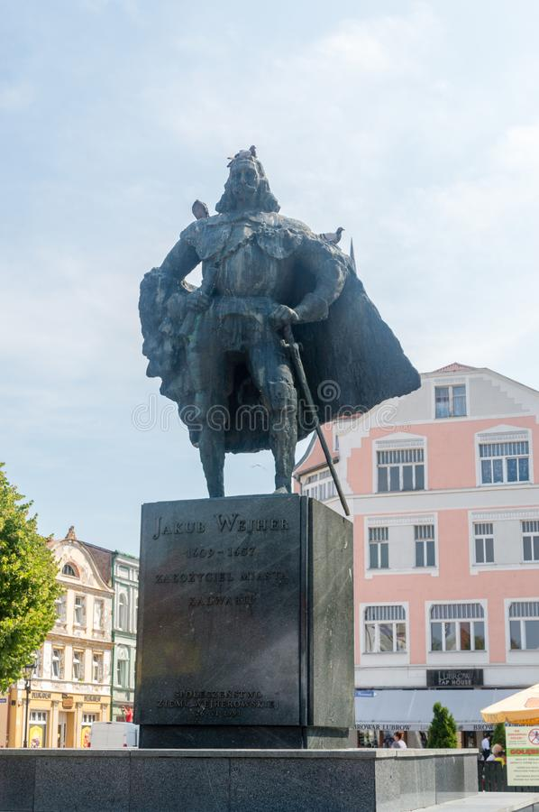 Monument to Jakub Weiher as the town`s founder in Wejherowo. Wejherowo, Poland - August 2, 2018: Monument to Jakub Weiher as the town`s founder in Wejherowo stock photo