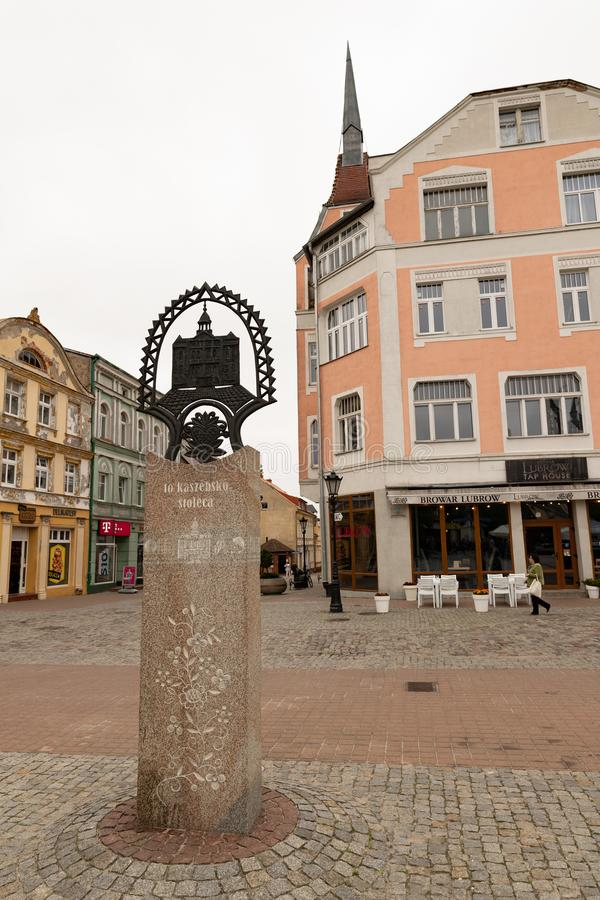 Wejherowo, Pomeranian Voivodeship / Poland - May, 23, 2019: The historic town square in Pomerania. Old tenements in the center of. A small town in Central royalty free stock photos