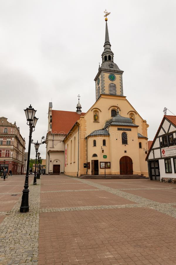Wejherowo, Pomeranian Voivodeship / Poland - May, 23, 2019: The historic town square in Pomerania. Old tenements in the center of. A small town in Central stock photo