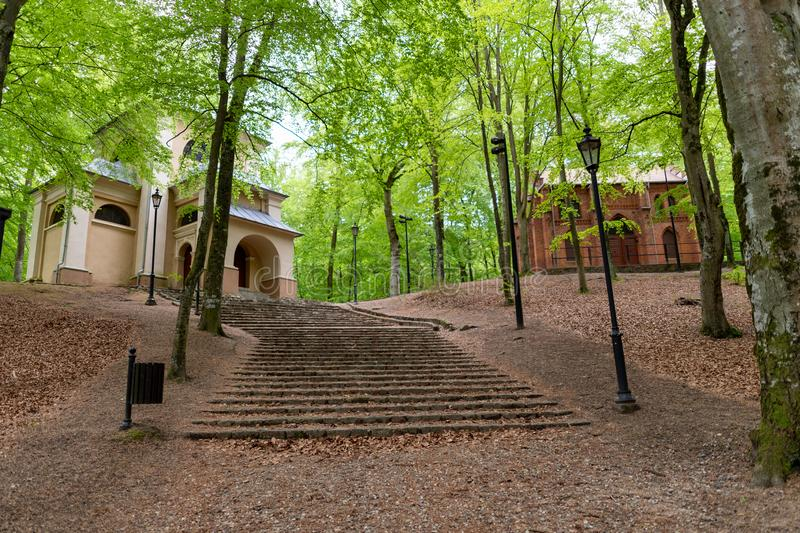 Wejherowo, Pomorskie / Poland - May, 23, 2019: Historic buildings in a park near Wejherowo. Kalwaria Wejherowska - a historic. Place to be spared in Central royalty free stock image