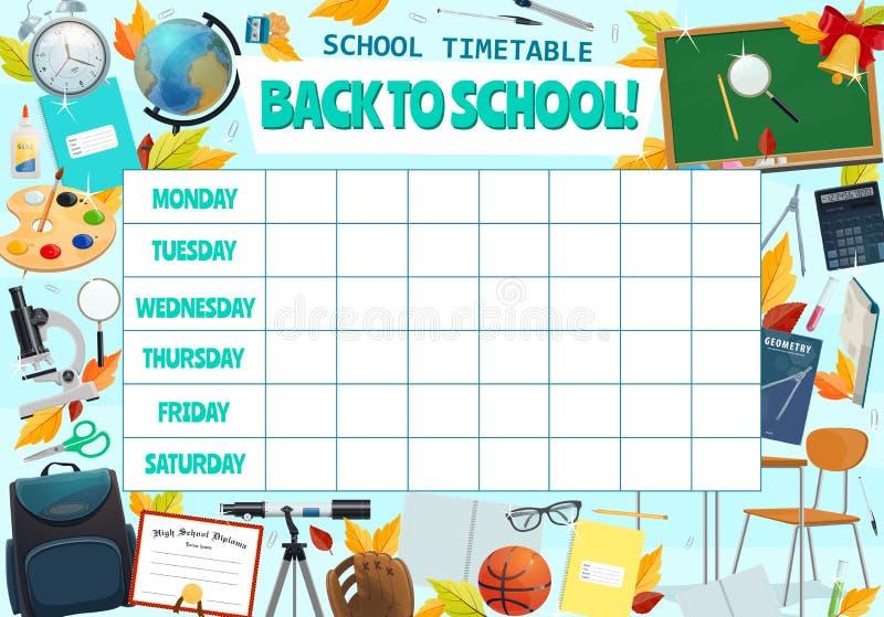 Wekelijks het tijdschemaontwerp van de schoolles royalty-vrije illustratie