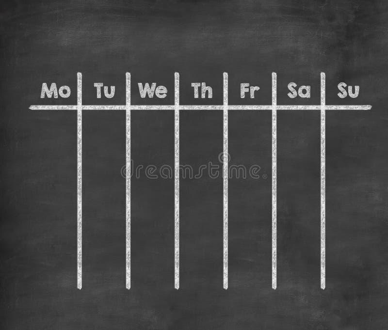 Wekelijkse kalender voor volledige week vector illustratie