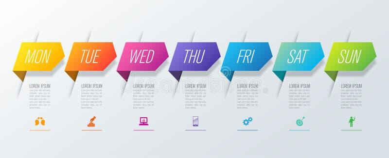 Wekelijkse ontwerpersmaandag - van Bedrijfs zondaginfographics de pictogrammen van de het ontwerpvector en met 7 opties vector illustratie