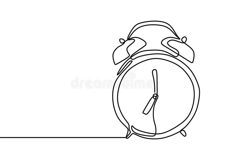 Wekker bij 7 scherpe ononderbroken het minimalistische ontwerp van de lijntekening op witte achtergrond vector illustratie