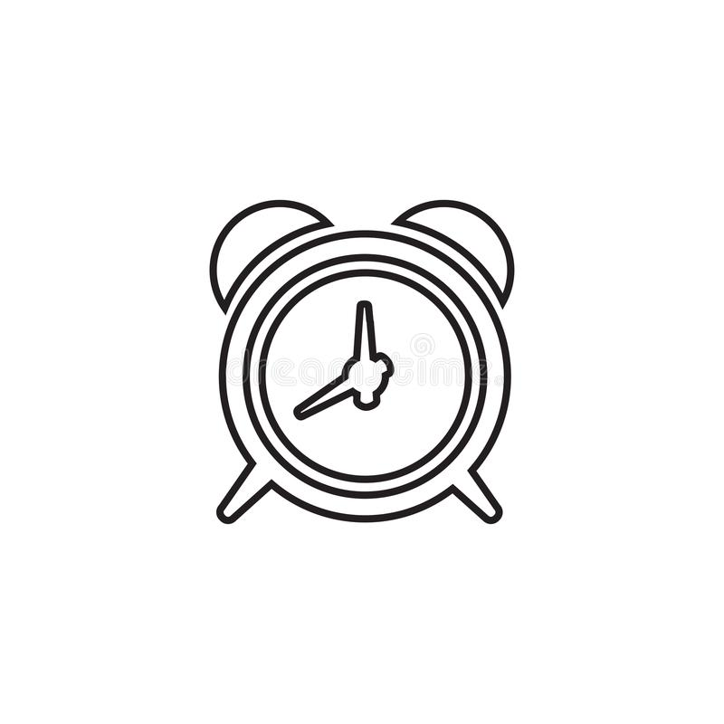 Wekker lineair pictogram in een vlak ontwerp in zwarte kleur Vector illustratie EPS10 vector illustratie