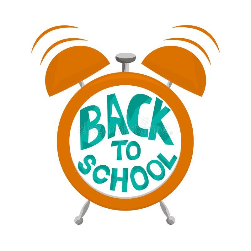 Wekker met klokken en tekst terug naar school Wekker die op witte achtergrond wordt geïsoleerdp Vector illustratie vector illustratie
