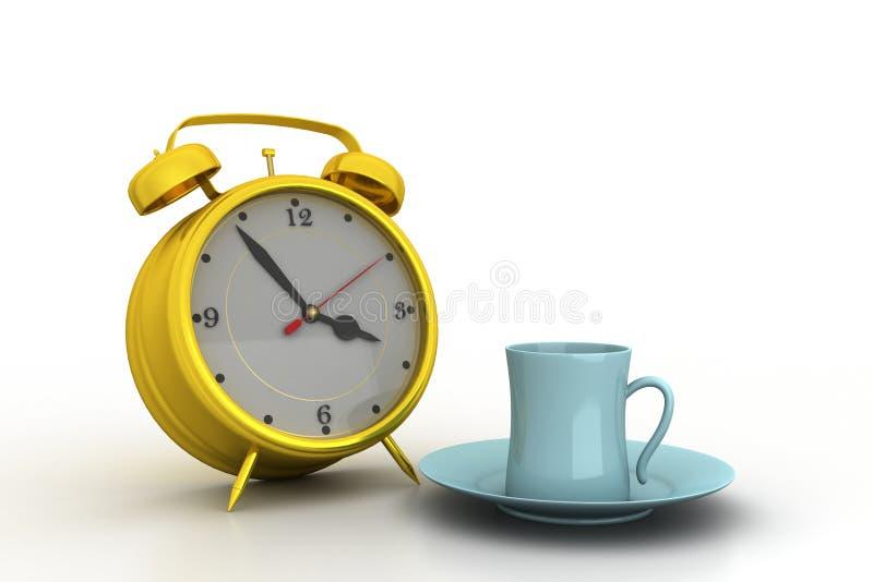 Wekker met kop thee vector illustratie