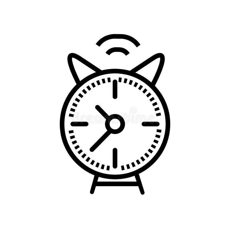 Wekker van pictogramvector op witte achtergrond, Wekker van teken binnen wordt geïsoleerd, de lineaire symbool en elementen dat v royalty-vrije illustratie
