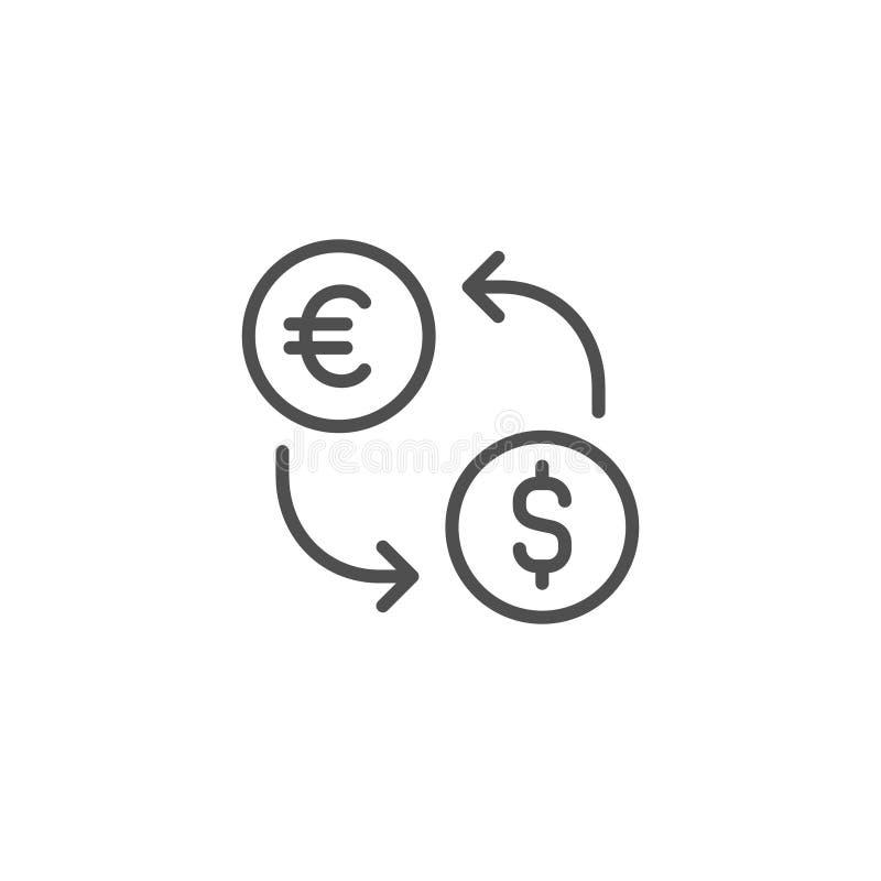 wekslowa wektorowa ikona Dolarowa euro waluta Pieniądze USD EUR znak Kreskowego konturu liniowy cienki płaski projekt dla sieci,  ilustracji