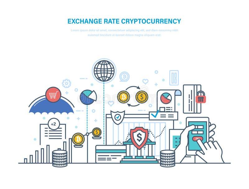 Wekslowego tempa cryptocurrency Pieniężne operacje z elektronicznym pieniądze, obrotu handlowego bitcoin ilustracji