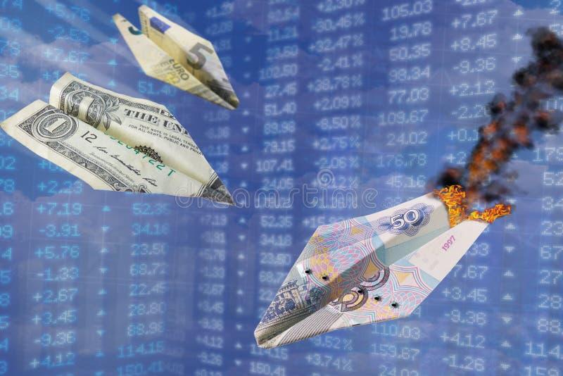 Wekslowego tempa ilustracja Silny dolar i euro temp uderzenia rublowi jak jeden wojna papierowy samolot uderzamy inny Dolar vs ru obraz royalty free