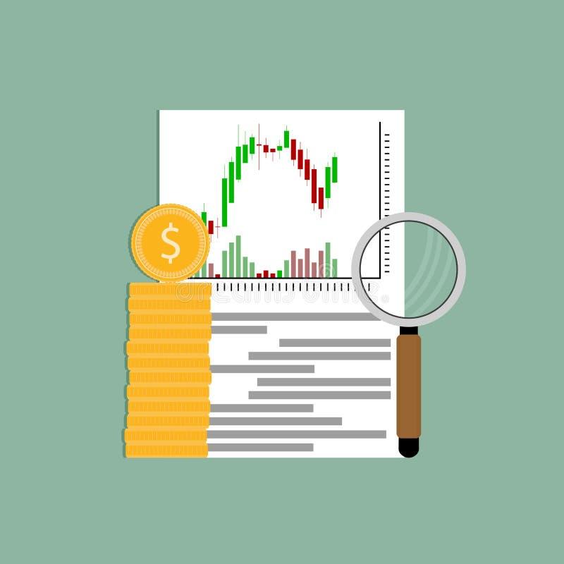 Wekslowej analizy candlestick pieniężna mapa ilustracja wektor