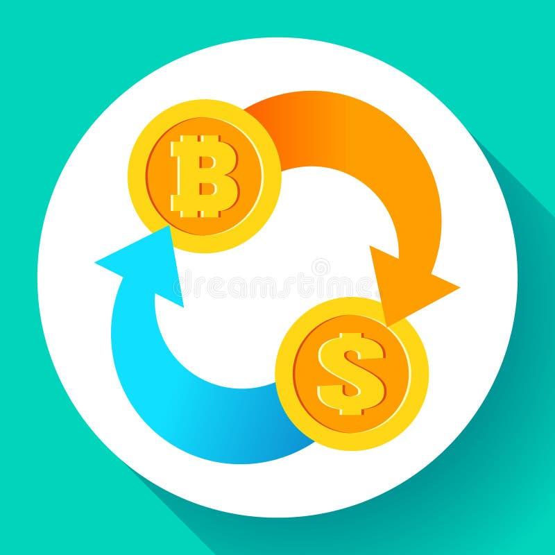 Wekslowy bitcoin dolarowa ikona, usd i btc symbole, cryptocurrency kopalnictwo, blockchain technologia, wektorowa ilustracja royalty ilustracja
