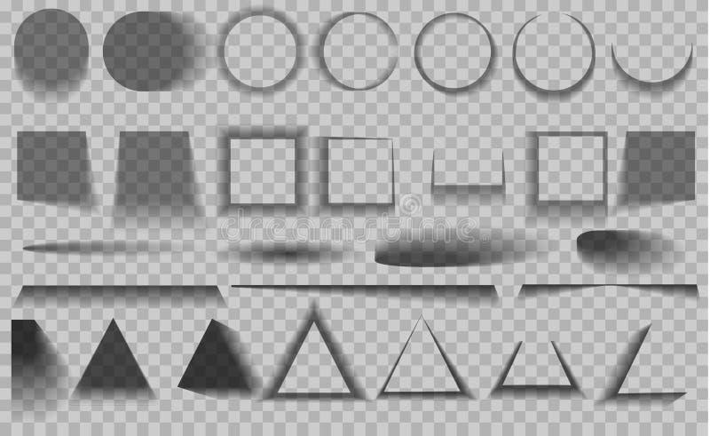 Wektorów cienie odizolowywający Set round i kwadrata cienia skutki royalty ilustracja